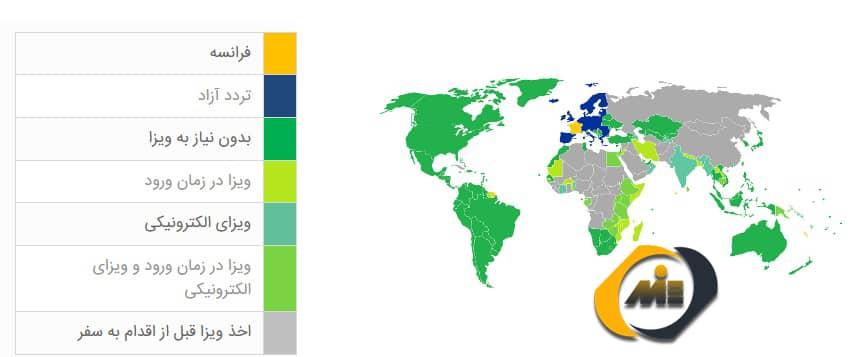 میزان آزادی سفر به کشورهای دیگر، برای دارندگان پاسپورت فرانسه