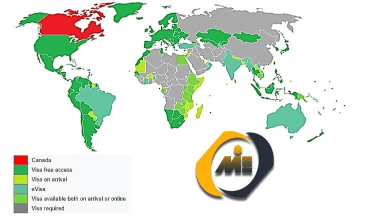 میزان آزادی سفر برای دارندگان پاسپورت کانادا
